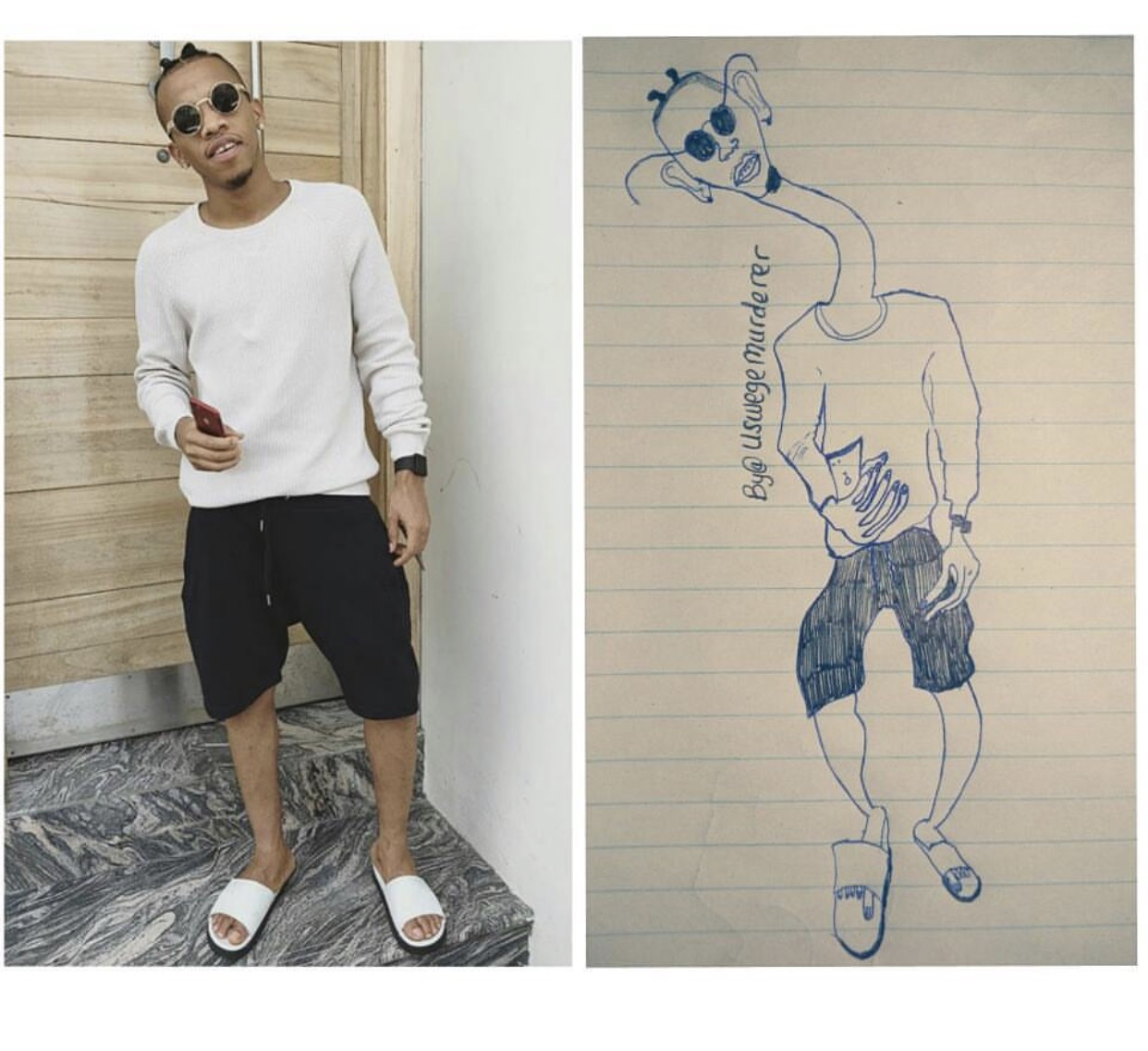 Just imagine this ridiculous drawing of Nigerian singer, Tekno...lol