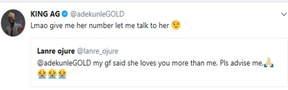 5a068d8463788 - Adekunle Gold's reply to a Twitter user who said his girlfriend loves the singer more than him (Check Out)