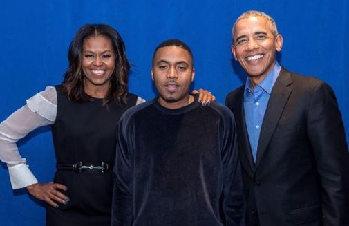 Nas shares photo with Barrack and Michelle Obama & his fans say he looks like their long-lost son..lol