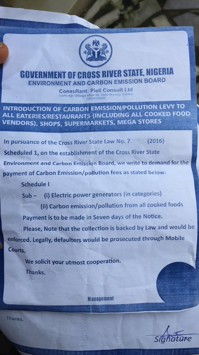 Cross Rivers state government allegedly introduce carbon emission/pollution levy for generator owners in the state