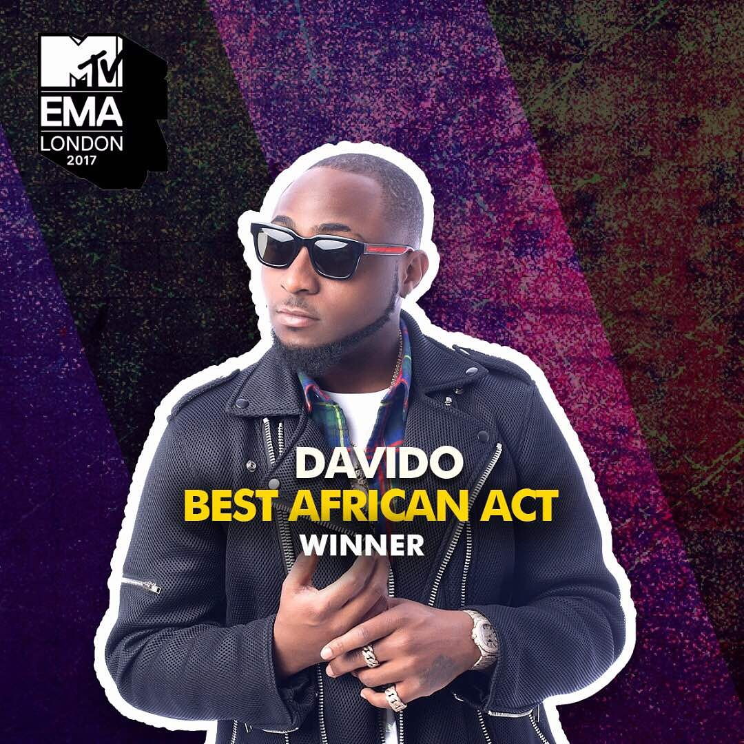 Davido wins Best African Act at the 2017 MTV Europe Music Awards, dedicates it to his late mother!