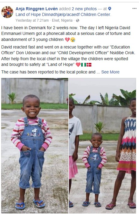 Photos: Three children tortured and abandoned in Akwa Ibom are all smiles two weeks after they were rescued
