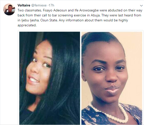 Female law graduates abducted on their way back from call to bar screening in Abuja