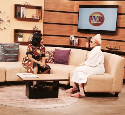 Dencia steps out in her bathrobe for an early morning interview in Nigeria (photo)