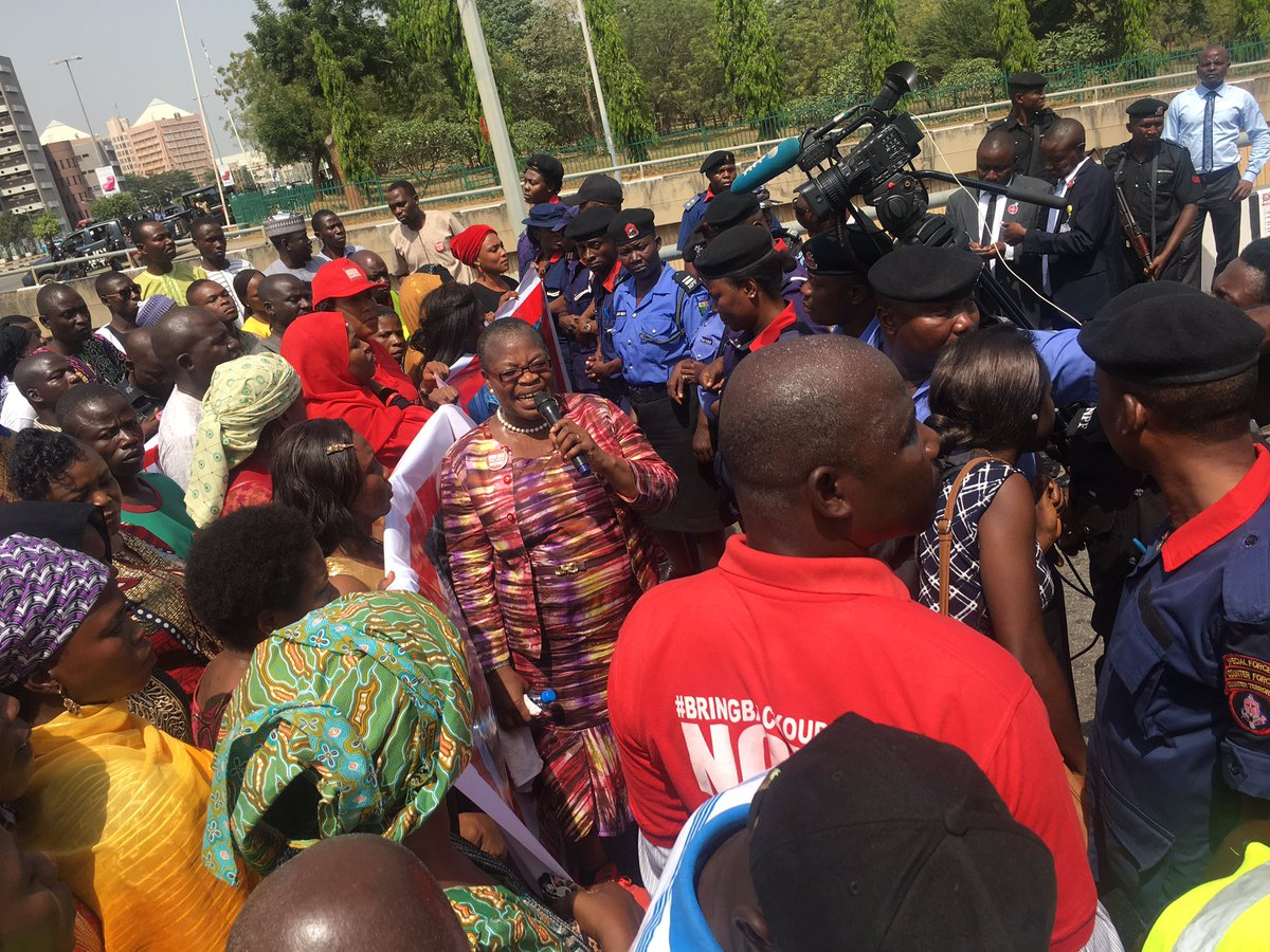 Photos: BBOG members match to the presidential villa, demand rescue of abducted Chibok girls, Lassa police officers, UNIMAID lecturers