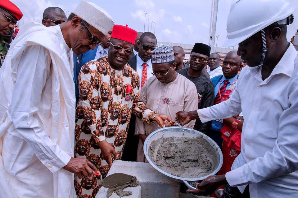 Photos: President Buhari commissions statue in Ebonyi, bags chieftaincy titles