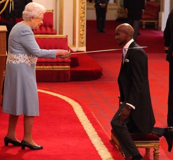Somalian born athlete, Mohamed Farah receives knighthood from the Queen of England