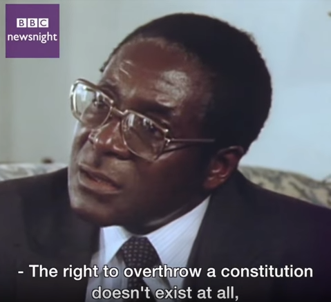 Throwback to a 1980 interview where Robert Mugabe said no military coup can remove him from power