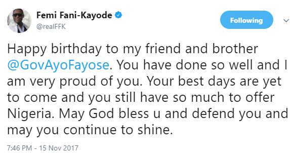 Femi Fani-Kayode sends heartfelt birthday message to Governor Fayose