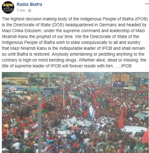 Radio Biafra denies sacking Nnamdi Kanu, says he remains their leader in life and in death