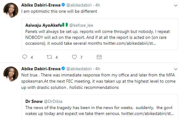 Abike Dabiri-Erewa mourns 26 Nigerian girls that drowned in the Mediterranean sea, says FG has set up a panel to investigate their death