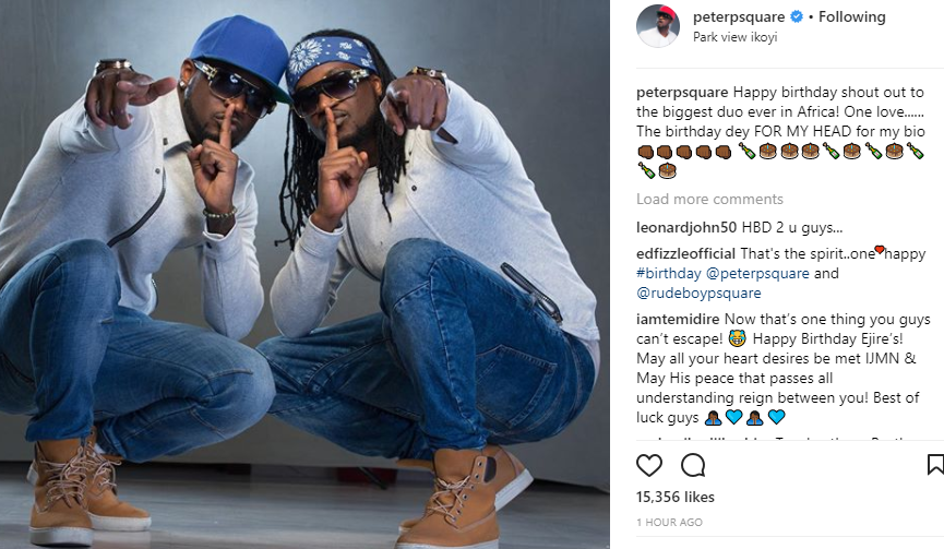 'The biggest duo ever in Africa' Peter Okoye celebrates himself and his twin brother, Paul, as they turn a year older today