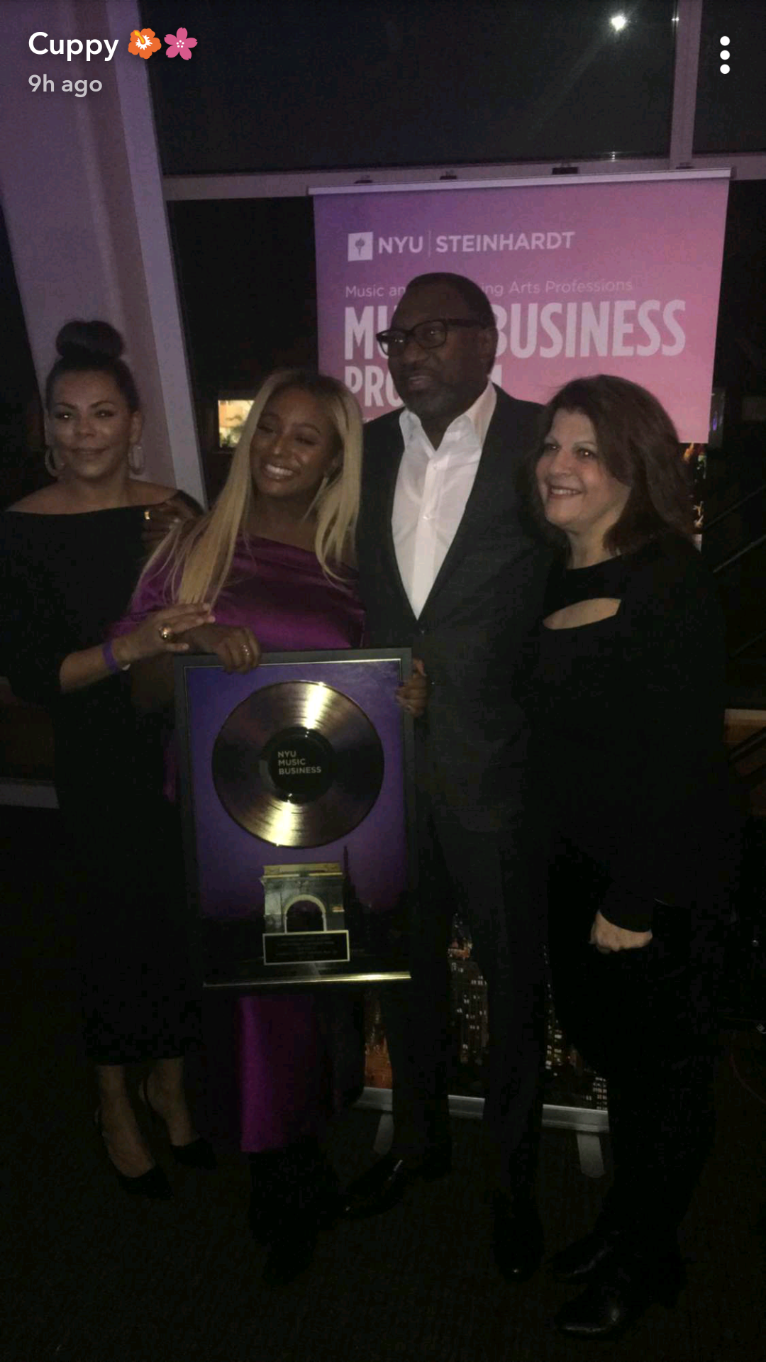 Femi & Nana Otedola pictured with daughter, DJ Cuppy as she received the NYU