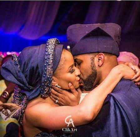 Awww! Banky W and Adesua share their first kiss and first dance at their wedding  (photos/video)