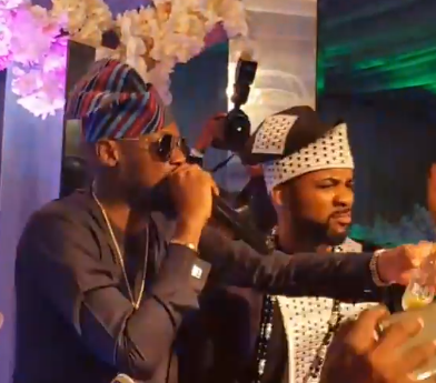 Video: BankyW switches to second outfit, joins 2face on stage at his wedding reception to sing