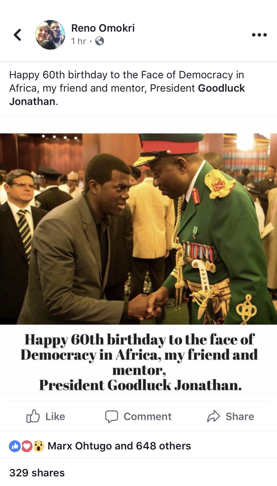 60th Birthday Tribute to GEJ- Reno Omokri