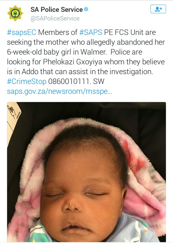 Photo: South African Police seeking mother who abandoned her 6-week-old baby in the bushes