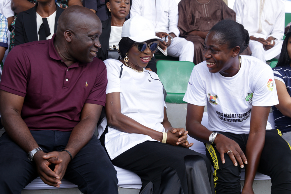 Photos: Wife of Lagos State Gov. Bolanle Ambode at exhibition match between Lagos team and NWPL team at Agege Stadium