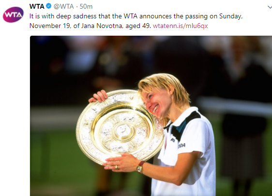 Former Wimbledon tennis champion, Jana Novotna, dies aged 49