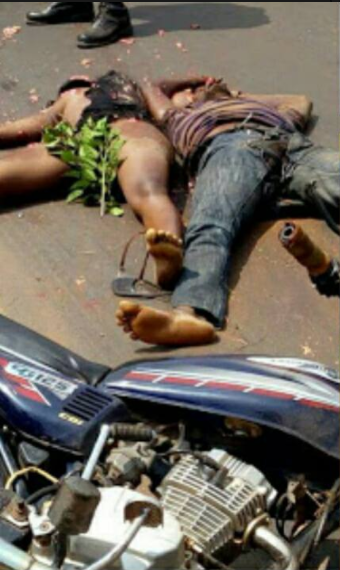 Trailer crushes motorcyclist and his female passenger to death in Awka (graphic photos)
