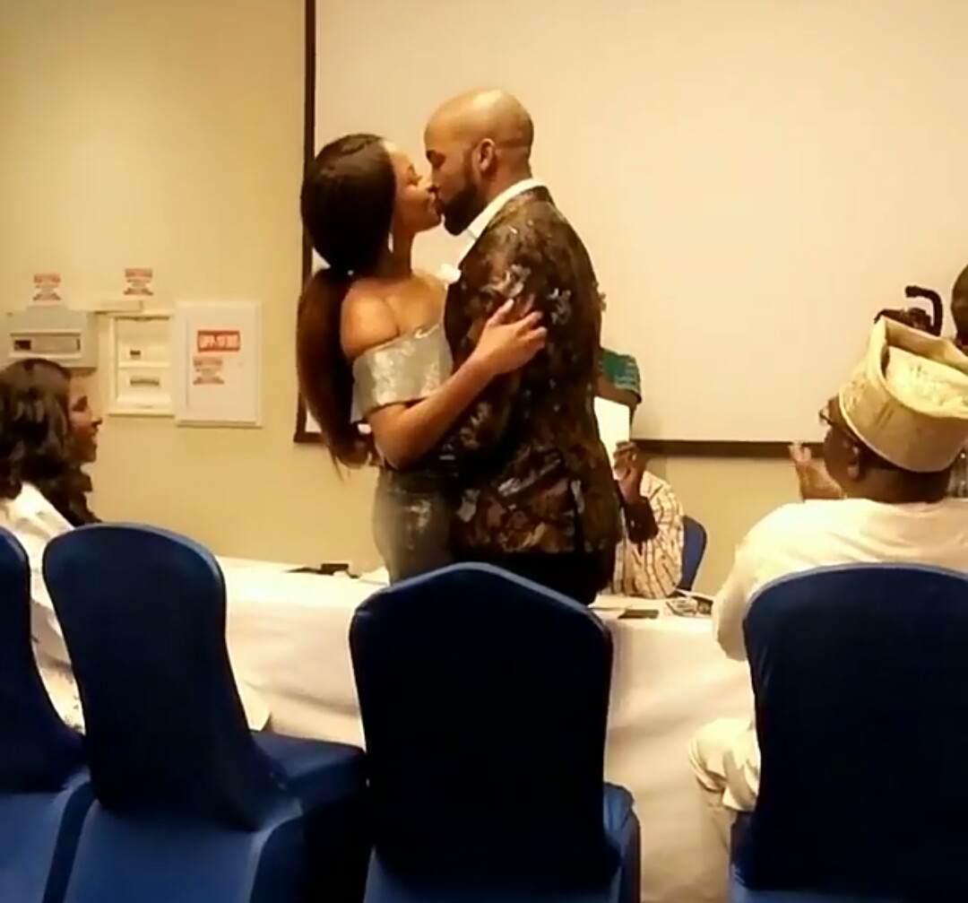 Video: BankyW and Adesua Etomi kiss passionately after their civil ceremony in Lagos today