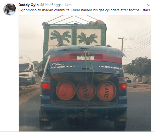 Funny man names his gas cylinders after football stars