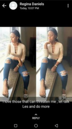 Child actress, Regina Daniels is being accused of threatening to release a teenager