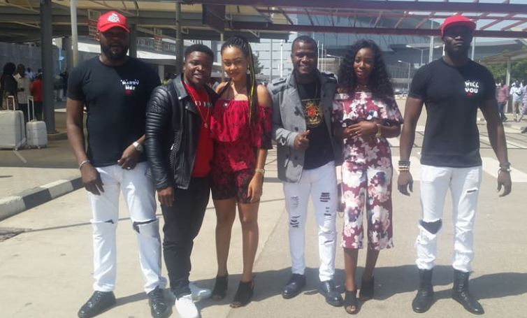 Nigerian comedians, DSam and Song propose to their girlfriends at the Abuja Airport