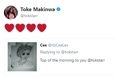 Lol. Just imagine the pencil drawing a fan made of Toke Makinwa...