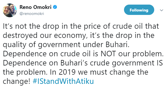 Reno Omokri reacts to Atiku