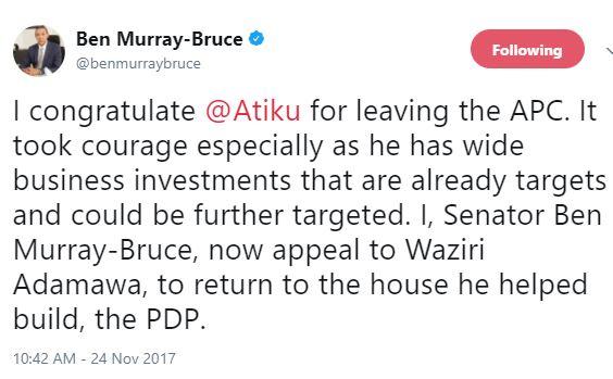 Ben Bruce congratulates Atiku for leaving APC