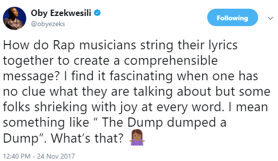 """""""I find it fascinating when one has no clue what they are talking about but some folks shrieking with joy at every word"""" Oby Ezekwesili ponders on how rap lyrics work"""