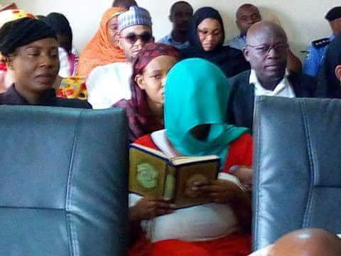 Photo/Video of alleged husband killer, Maryam Sanda, reading the Quran in court