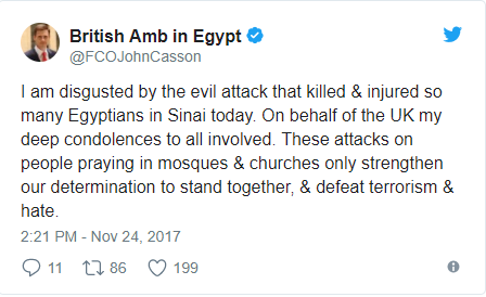 Egypt mosque attack update: Death toll rises to 184 after terrorists bombed mosque then opened fire on ambulance conveying survivors to the hospital