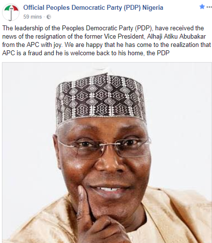 PDP rejoices over Atiku Abubakar