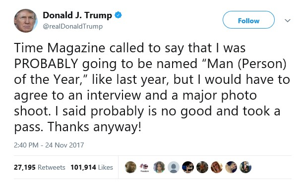 Lol. Time Magazine calls out Donald Trump for claiming he could be named