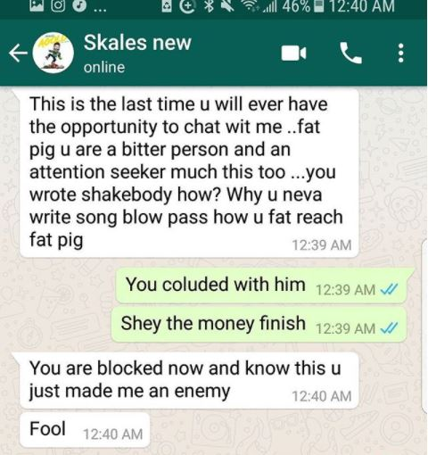 Screenshots! Singer calls out Skales says,