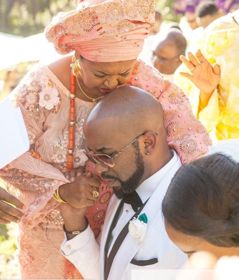 Banky W's Mother Praying For Him And His Wife, Adesua Etomi - Celebrities