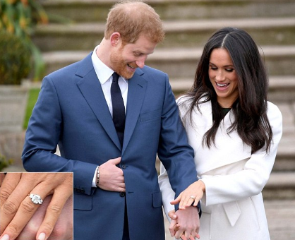 Meghan Markle shows off her ring made with Diana