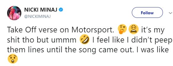 Nicki Minaj offended by Migos rapper Takeoff