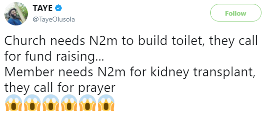 Twitter users rise up in defense of Nigerian churches after man claimed churches give more to build toilets than towards the welfare of their members