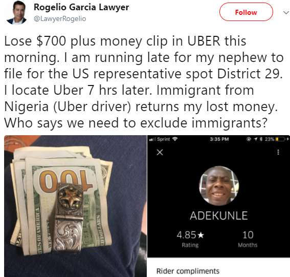 American lawyer writes on his encounter with a honest Nigerian Uber driver