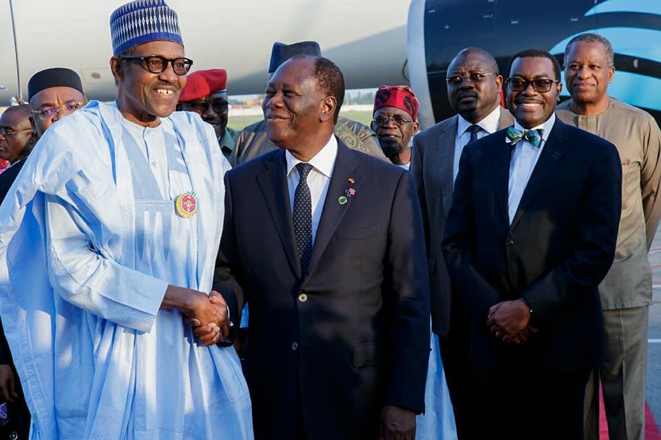 Photos:?President Buhari arrives Abidjan ahead of the 5th AU-EU Summit