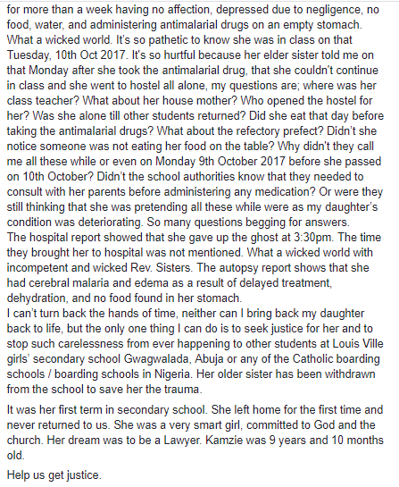 Mother accuses Abuja boarding school of neglect after her daughter, 9, dies weeks after gaining admission into the school