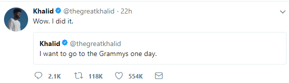 19-yr-old American artiste, Khalid, gets 5 Grammy nominations three years after tweeting that he