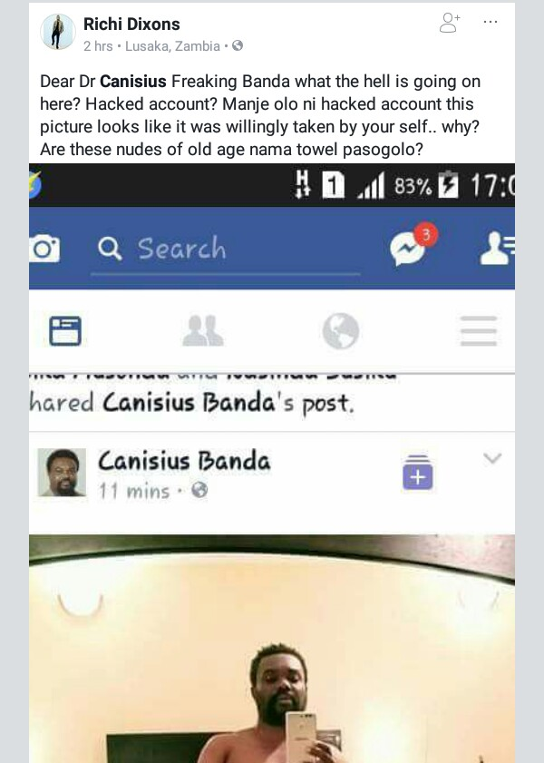 Zambian opposition politician posts his nude photo on Facebook