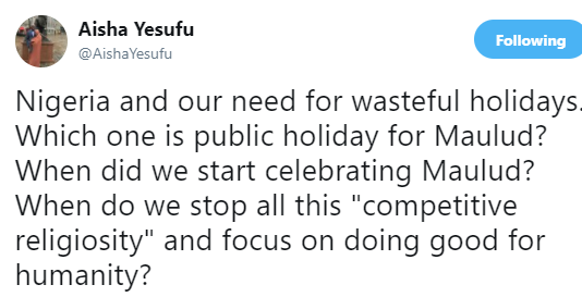 Aisha Yesufu Criticizes FG For Granting Dec 1 As Public Holiday