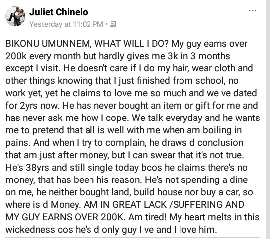 """He earns over N200K but hardly gives me N3k in three months"" - Frustrated lady complains about her wicked stingy boyfriend on Facebook"