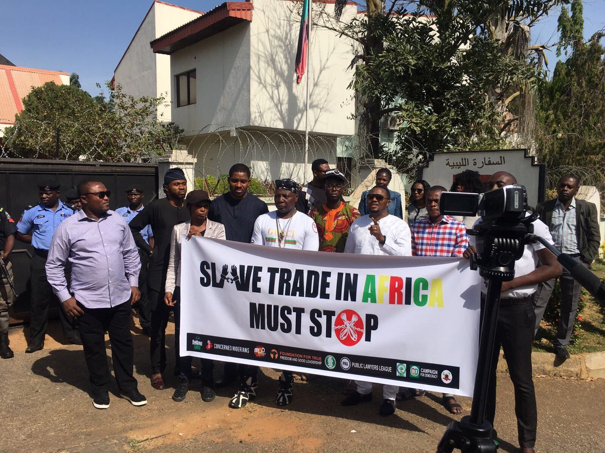 Photos; Charly Boy leads Nigerians in a protest to the Libyan embassy against the current slave trade business
