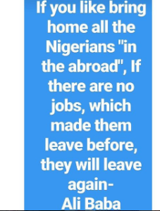 """If you like bring home all the Nigerians abroad, if there is no job which made leave them before , they will leave again"" Ali Baba"